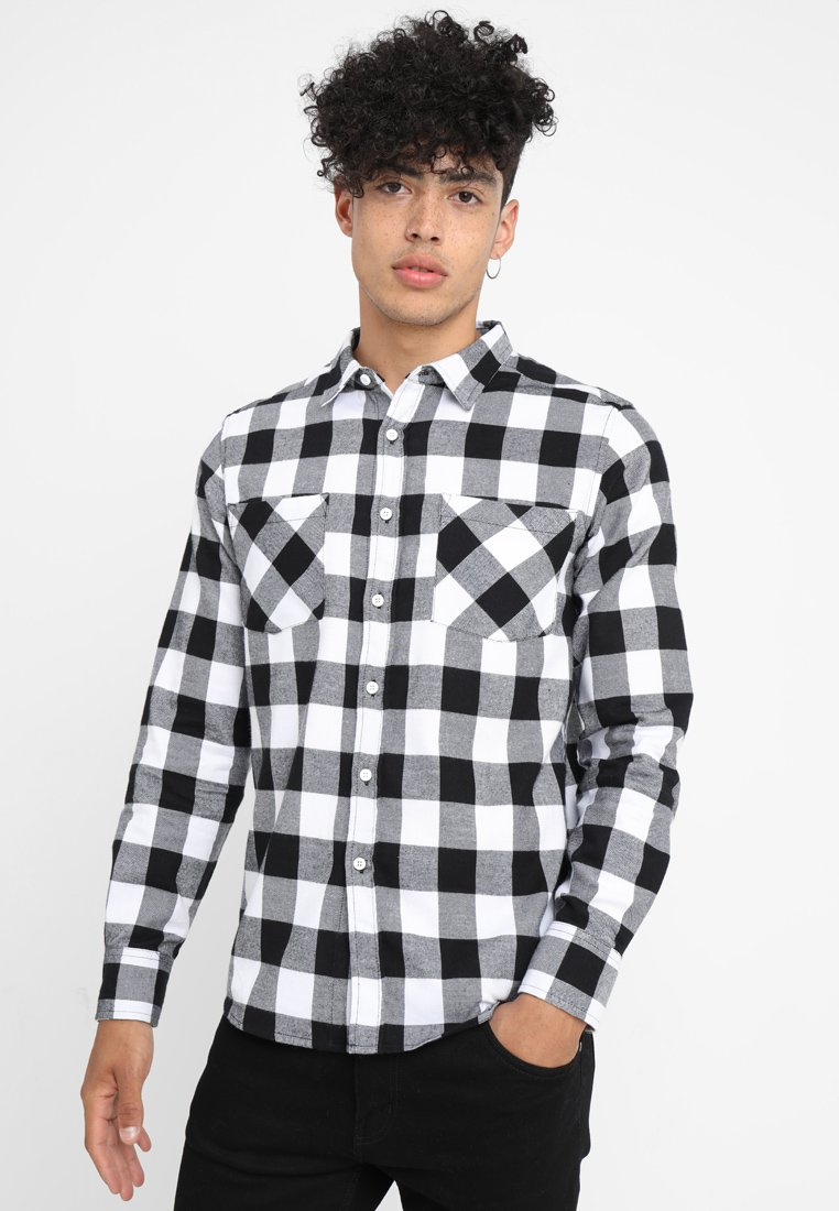 Urban Classics - CHECKED SHIRT - Koszula - black/white