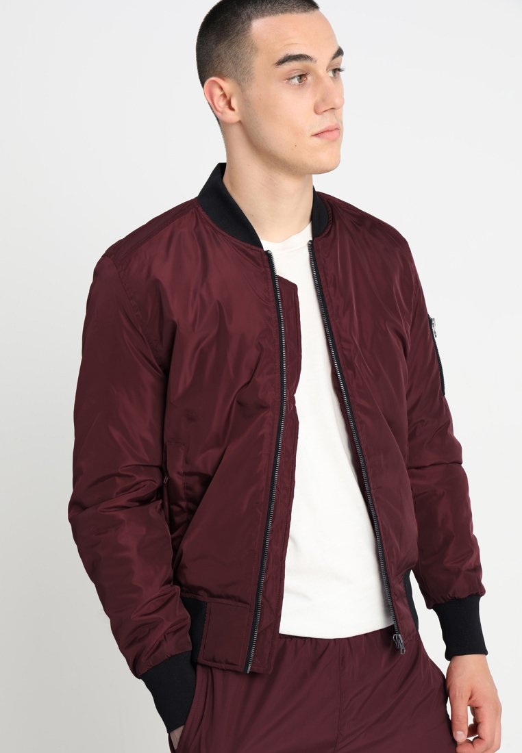 Urban Classics - Bomber Jacket - burgundy/black