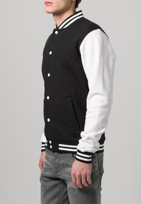 Urban Classics - Zip-up hoodie - black/white - 2