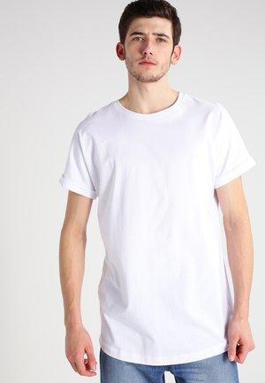 LONG SHAPED TURNUP - Jednoduché triko - white
