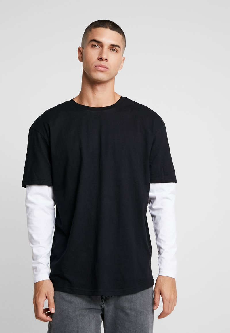 Urban Classics - OVERSIZED SHAPED DOUBLE LAYER TEE - T-shirt à manches longues - black/white