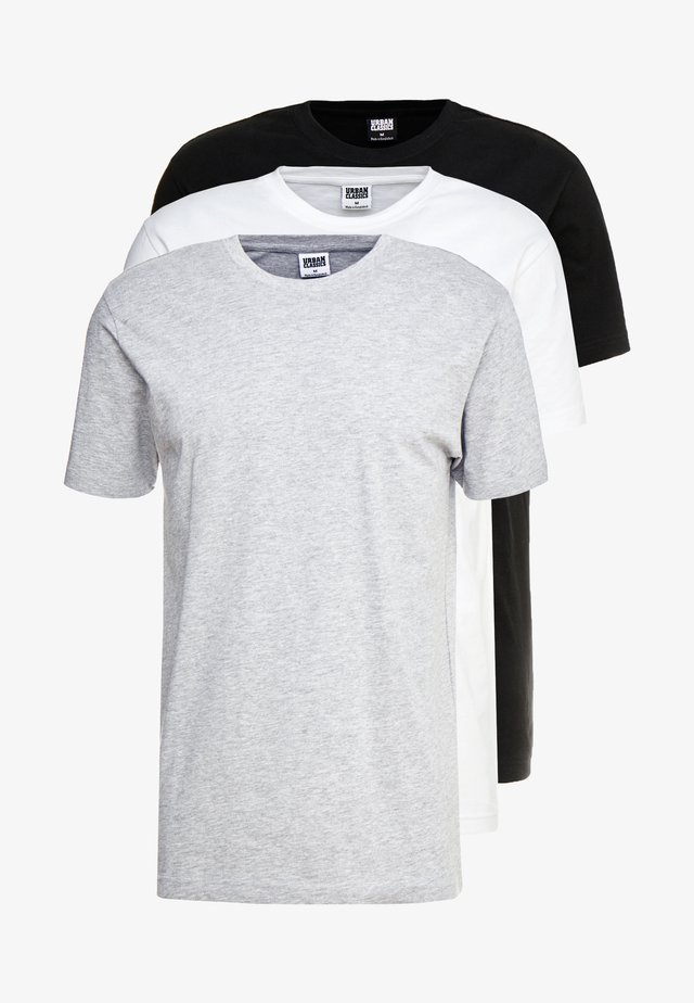 BASIC TEE 3 PACK - Basic T-shirt - black/white/grey