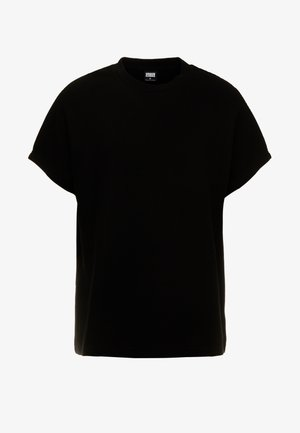 CUT ON SLEEVE NAPS INTERLOCK TEE - T-shirt basic - black
