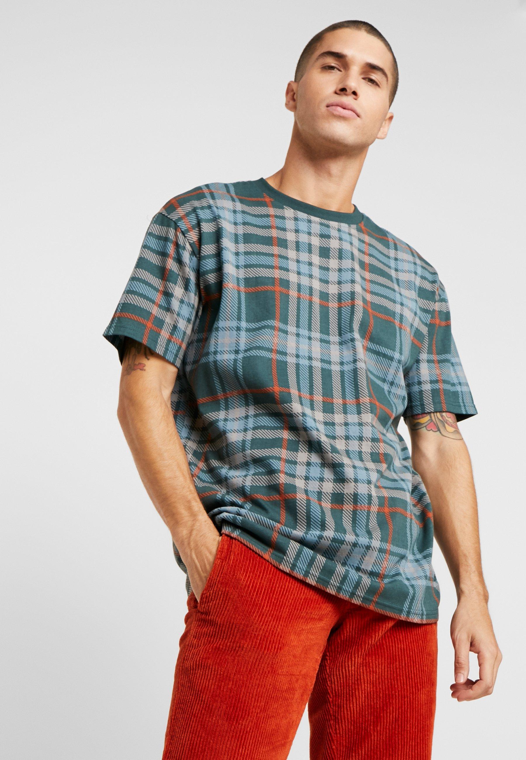 Urban Classics CHECK OVERSIZED HEAVY TEE - T-shirt z nadrukiem - bottlegreen