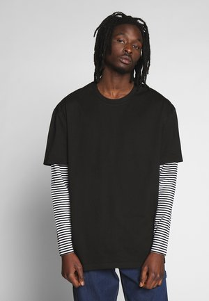 DOUBLE LAYER STRIPED TEE - T-shirt à manches longues - black