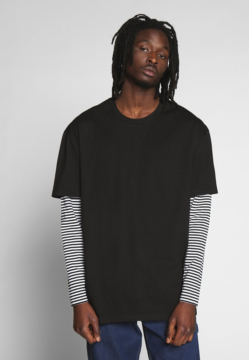 Urban Classics - DOUBLE LAYER STRIPED TEE - Long sleeved top - black