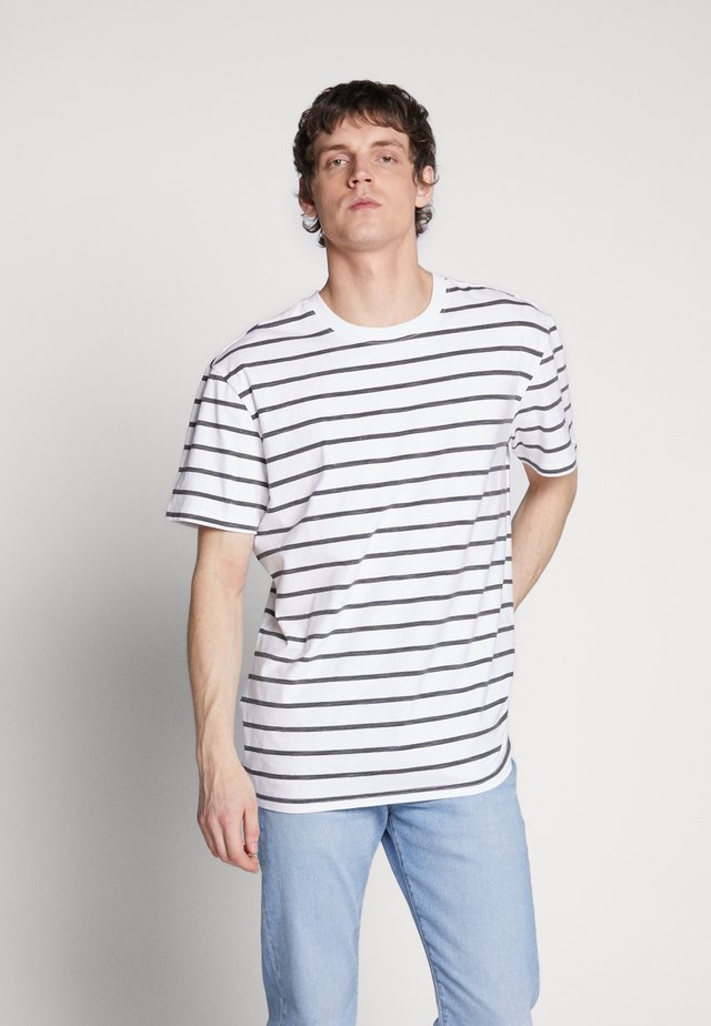 BASICSTRIPED TEE - T-shirt imprimé - white