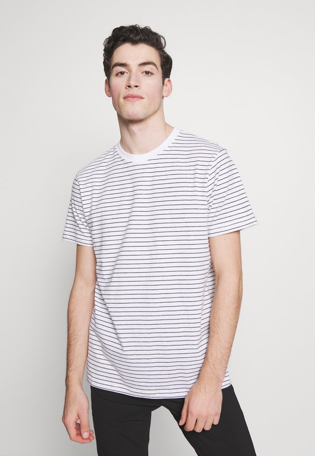 BASIC STRIPED TEE - Printtipaita - white