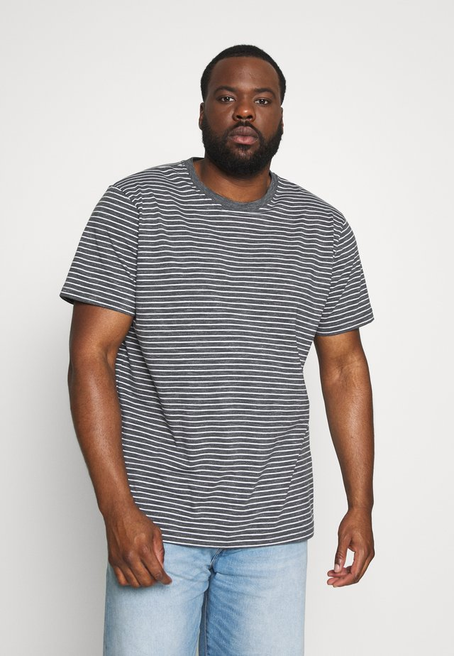 BASIC STRIPED TEE - Print T-shirt - charcoal