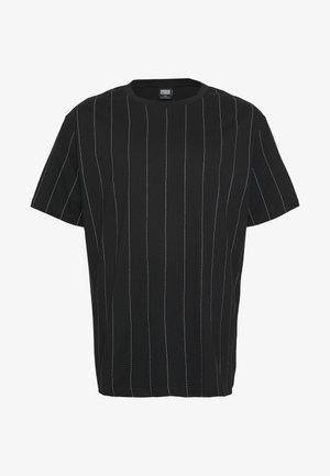 OVERSIZED PINSTRIPE TEE - Print T-shirt - black