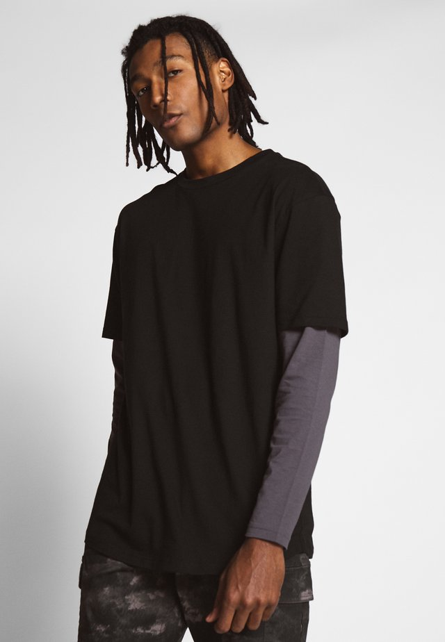 OVERSIZED SHAPED DOUBLE LAYER TEE - Bluzka z długim rękawem - darkshadow