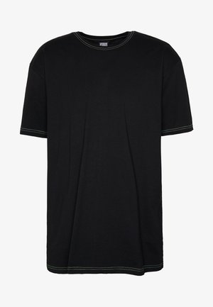 HEAVY OVERSIZED CONTRAST STITCH TEE - T-shirt con stampa - black/neongreen
