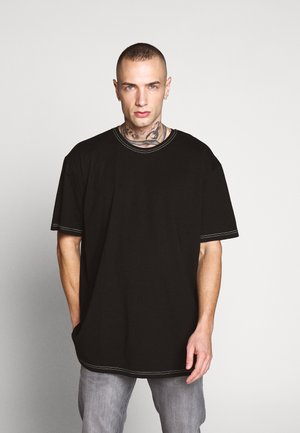 HEAVY OVERSIZED CONTRAST STITCH TEE - T-shirt med print - black/neongreen