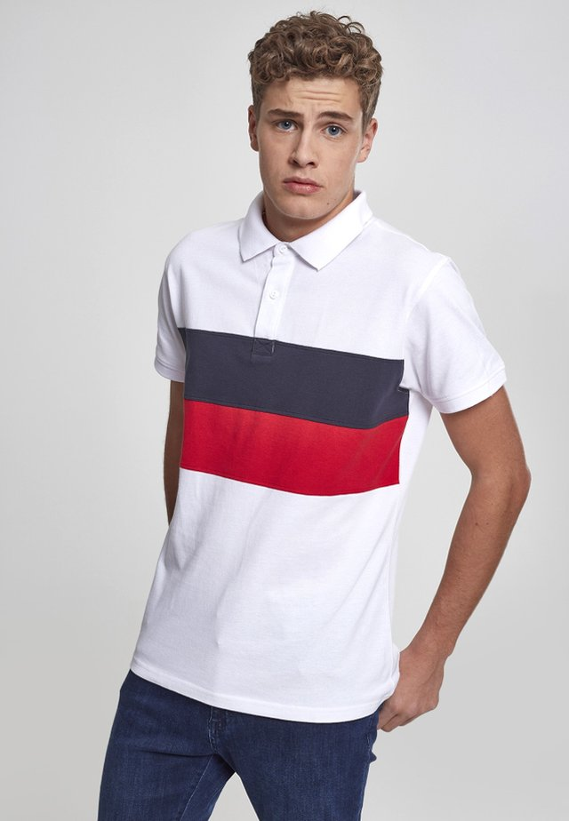 Polo - white/navy/fire red
