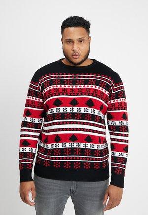 SNOWFLAKE CHRISTMAS TREE - Stickad tröja - black/firered/white
