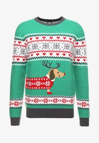 Urban Classics - SAUSAGE DOG CHRISTMAS - Stickad tröja - green/offwhite/grey/red - 3
