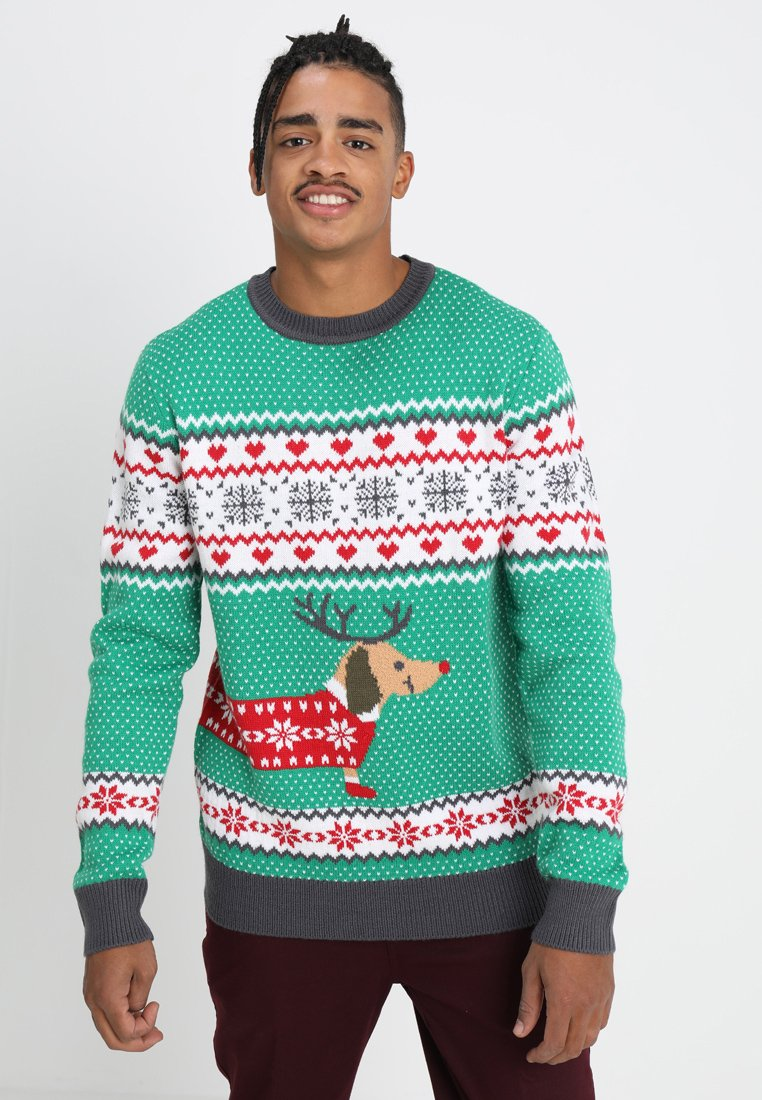 Urban Classics - SAUSAGE DOG CHRISTMAS - Stickad tröja - green/offwhite/grey/red