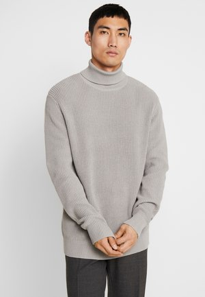 CARDIGAN STITCH ROLL NECK  - Pullover - grey