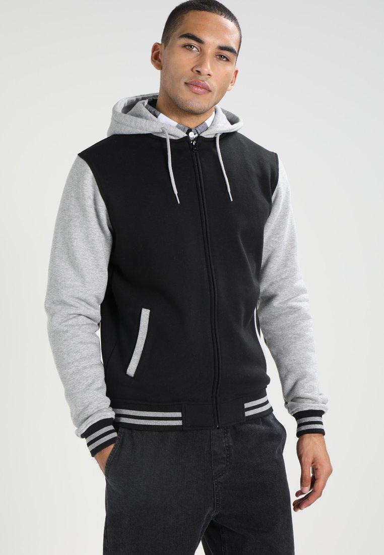 Urban Classics - 2-TONE ZIP HOODY - Zip-up hoodie - black/grey