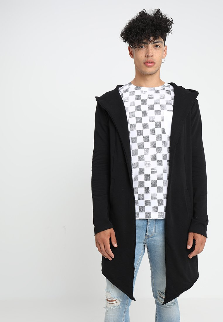 Urban Classics - LONG HOODED OPEN EDGE - Mikina na zip - black