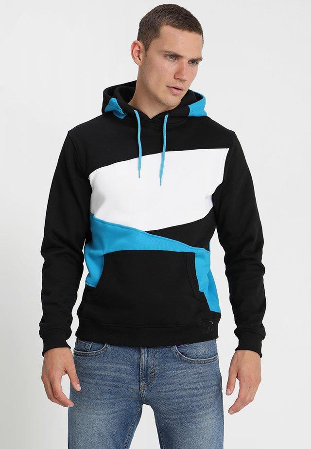 ZIG ZAG  - Bluza z kapturem - black/turquoise