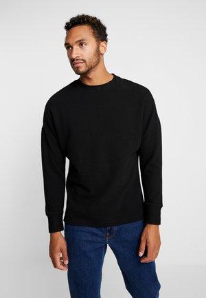 CUT ON SLEEVE NAPS INTERLOCK CREW - Sweatshirt - black
