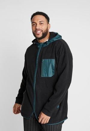 CONTRAST POLAR ZIP HOODY - Denim jacket - black/bottlegreen