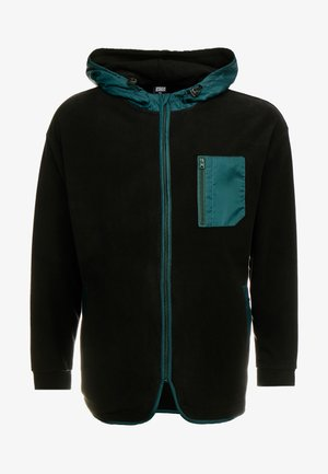 CONTRAST POLAR ZIP HOODY - Denim jacket - black/bottlegreen