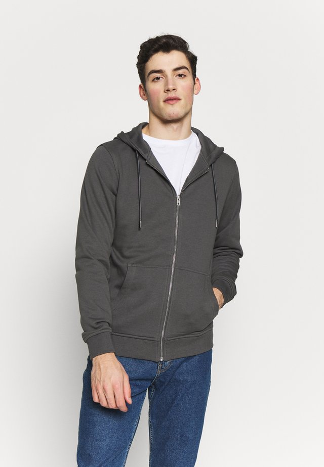 BASIC TERRY ZIP HOODIE - Collegetakki - darkshadow