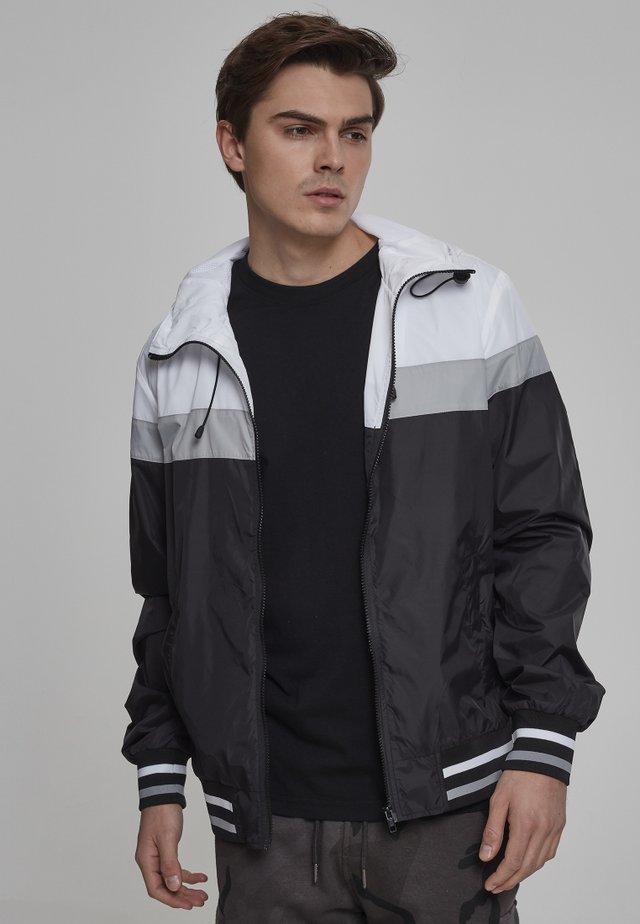 HOODED COLLEGE WINDBREAKER - Leichte Jacke - black/white/grey