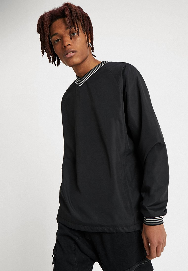 Urban Classics - RIB STOP V-NECK PULL OVER - Sudadera - black/grey