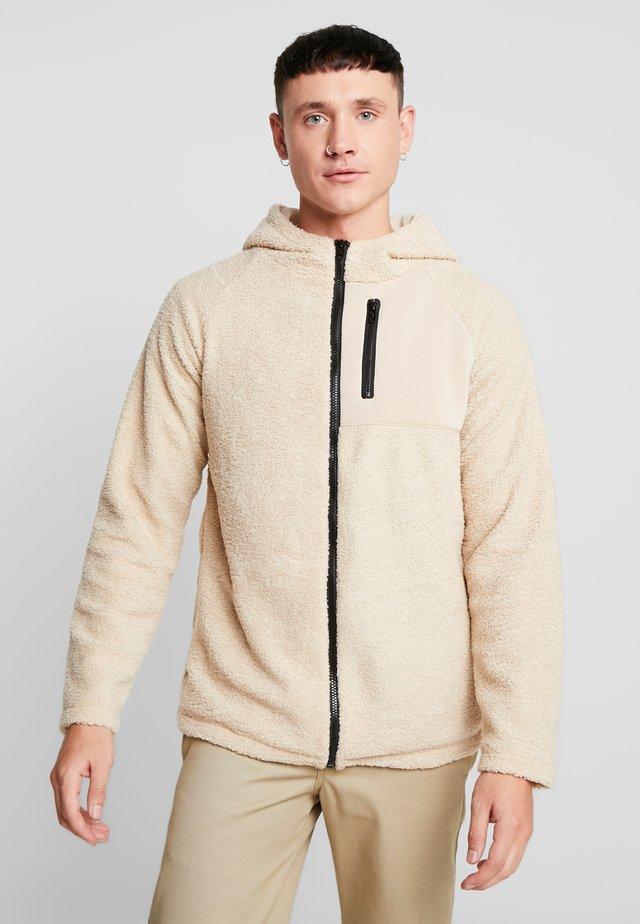 HOODED ZIP JACKET - Fleece jacket - darksand