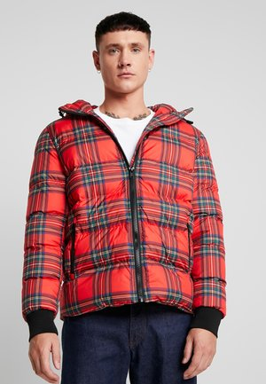 HOODED CHECK JACKET - Winterjas - red/black