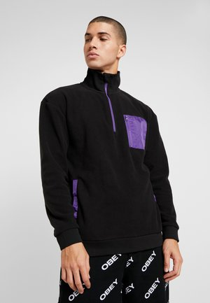 CONTRAST POLAR TROYER - Fleece trui - black