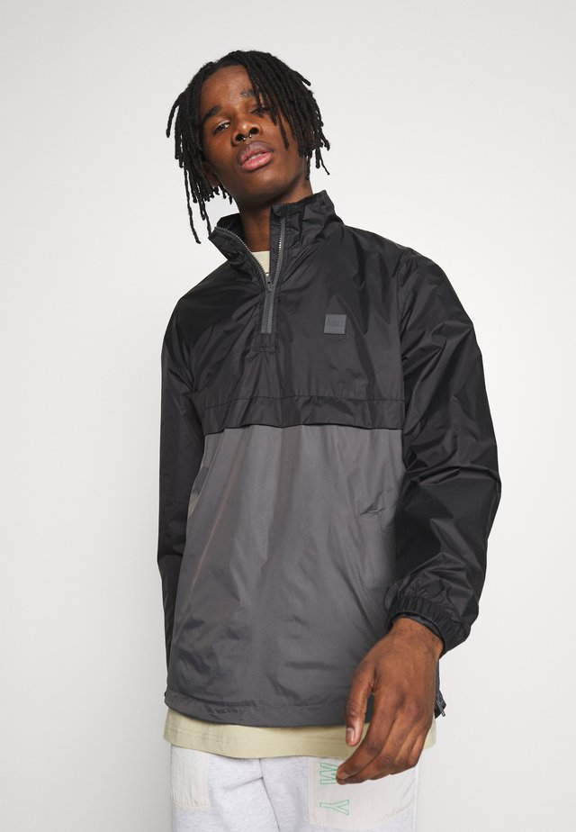 STAND UP COLLAR PULL OVER  - Windbreakers - black/darkshadow