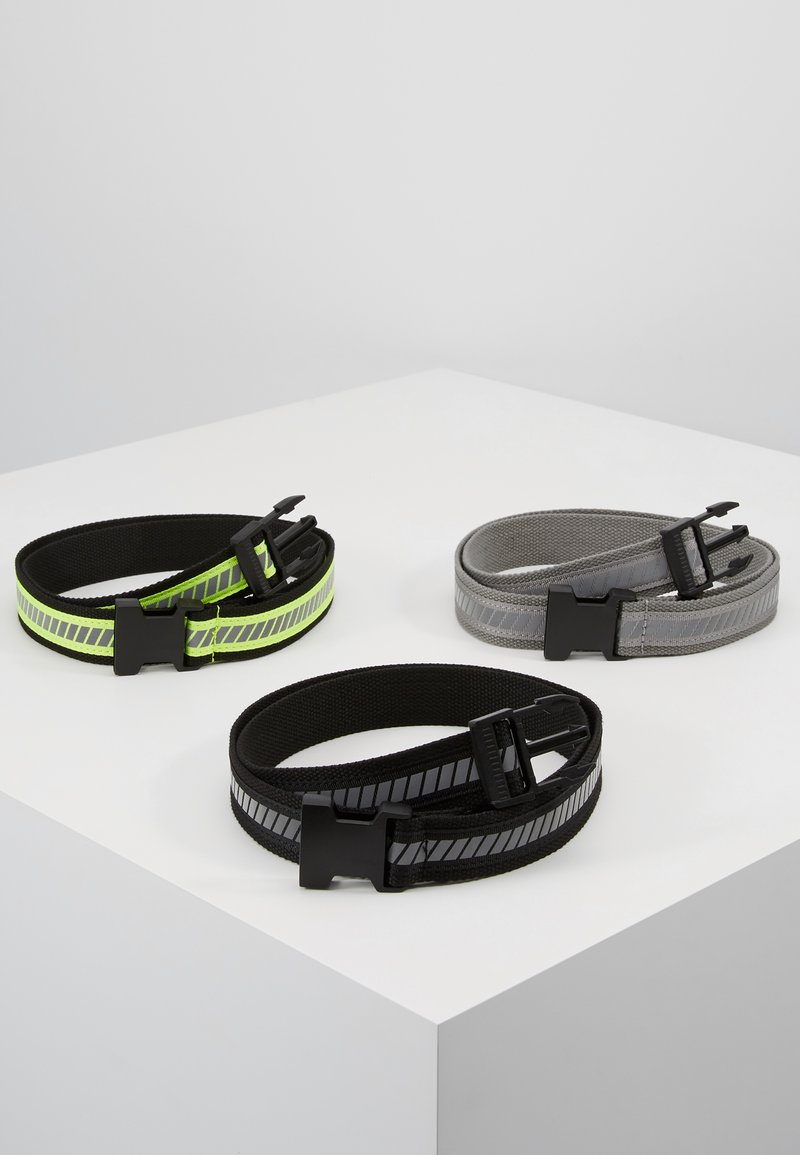 Urban Classics - REFLECTIVE BELT 3 PACK - Belt - black/silver/neonyellow/grey