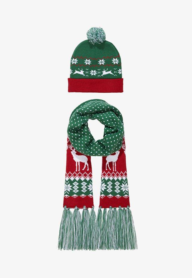 CHRISTMAS SET - Sjaal - green/red