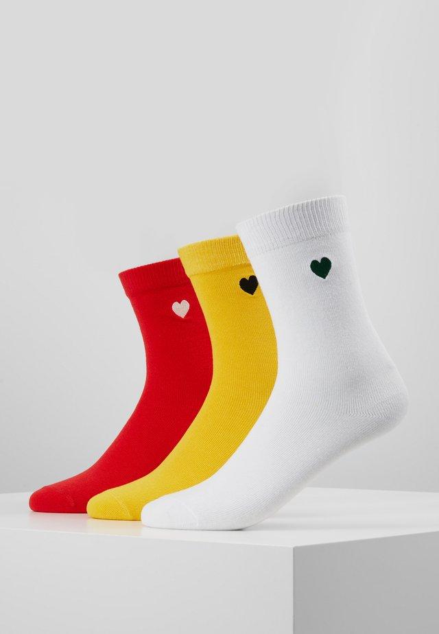 HEART SOCKS 3 PACK - Skarpety - yellow/red/white