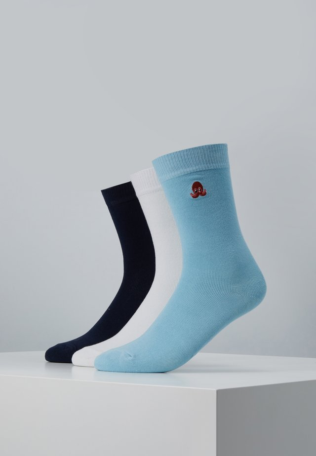 FUN EMBROIDERY SOCKS 3 PACK - Socken - white/light blue/navy