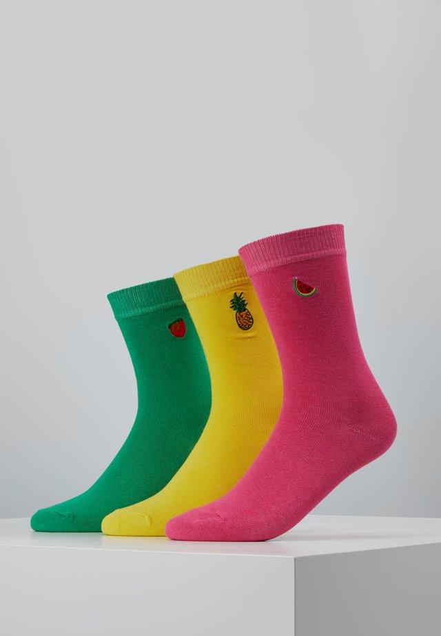 FUN EMBROIDERY SOCKS 3 PACK - Socks - lightyellow/green/pink