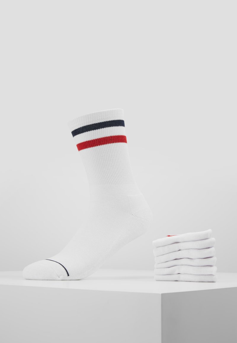 Urban Classics - 3-TONE COLLEGE SOCKS 6 PACK - Socken - white/navy/red