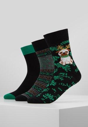 CHRISTMAS SOCKS DOG 3PACK - Socken - black/green