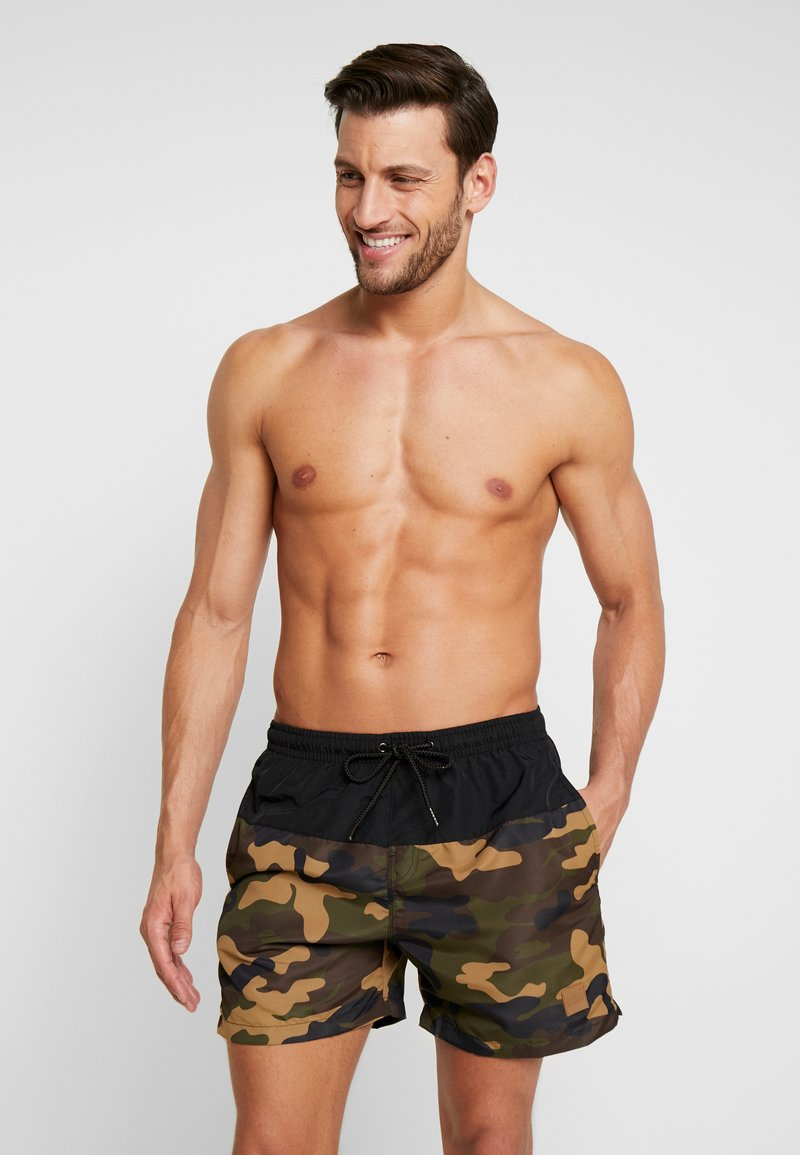 Urban Classics - BLOCK SWIM - Badeshorts - black/wood