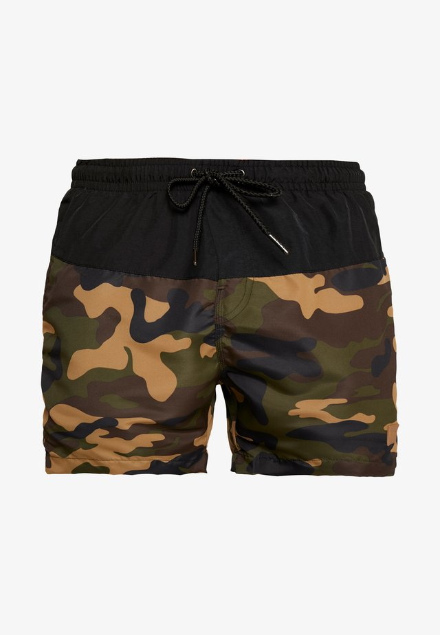 BLOCK SWIM - Zwemshorts - black/wood
