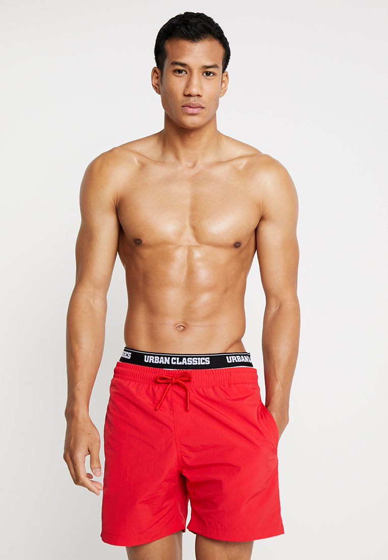 Urban Classics - TWO IN ONE SWIM - Swimming shorts - firered/white/black
