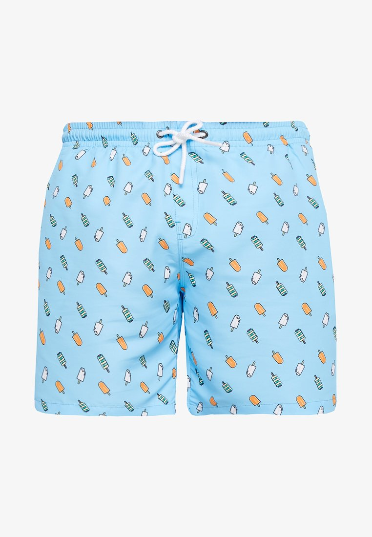 Urban Classics - PATTERNSWIM - Swimming shorts - light blue/ice