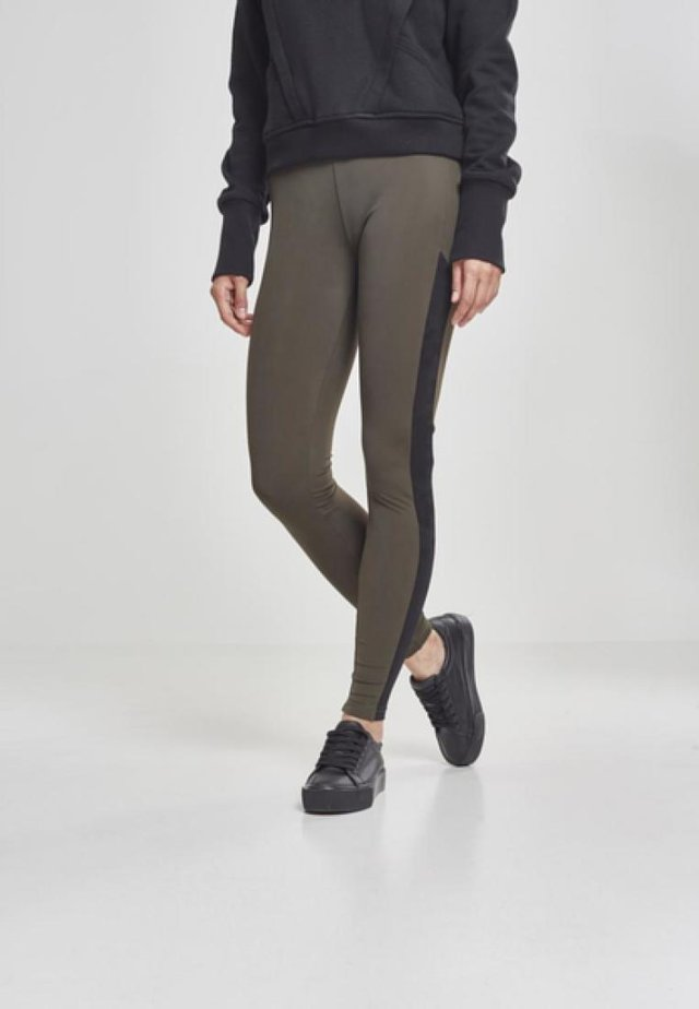 LADIES CAMO STRIPED - Leggings - Trousers - olive/black