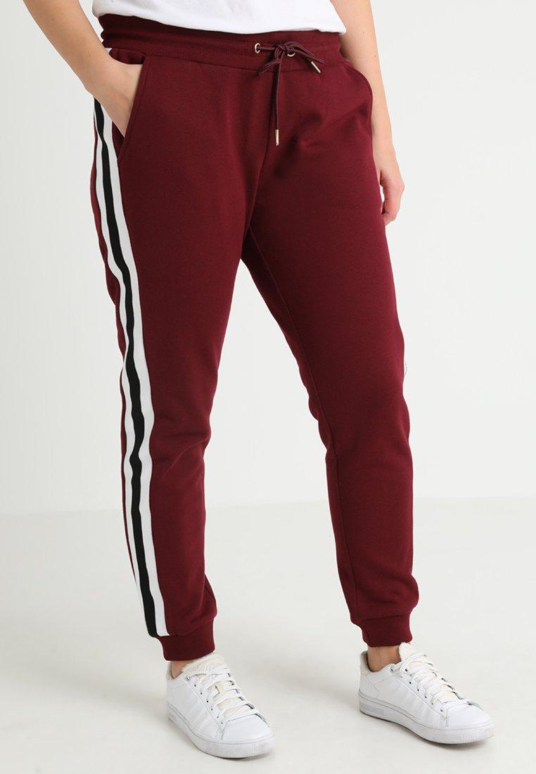 Urban Classics Curvy - LADIES COLLEGE CONTRAST - Pantalon de survêtement - port/white/black