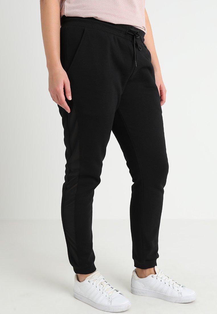 Urban Classics Curvy - LADIES SIDE STRIPE - Pantalones deportivos - black