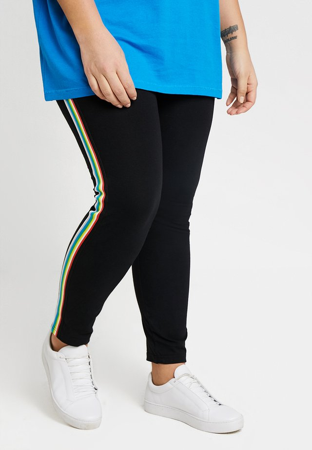 LADIES SIDE TAPED - Leggings - Trousers - black